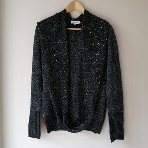 Calvin Klein black sparkly sweater with scarf